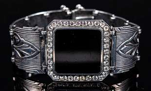 Sterling Onyx & Crystal Panel Bracelet