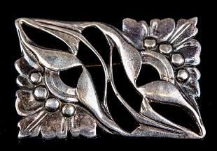 Sterling Art Nouveau Floral Pin