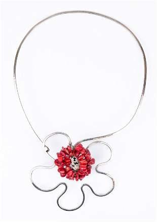 Rare Studio Art Silver & Stone Flower Bib