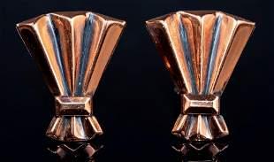 Renoir Mid-Century Fan Shaped Copper Earrings