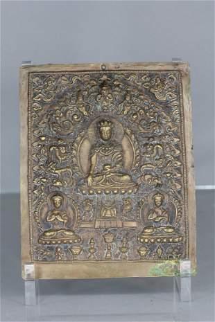 Tibetan Buddha Bronze Plaque