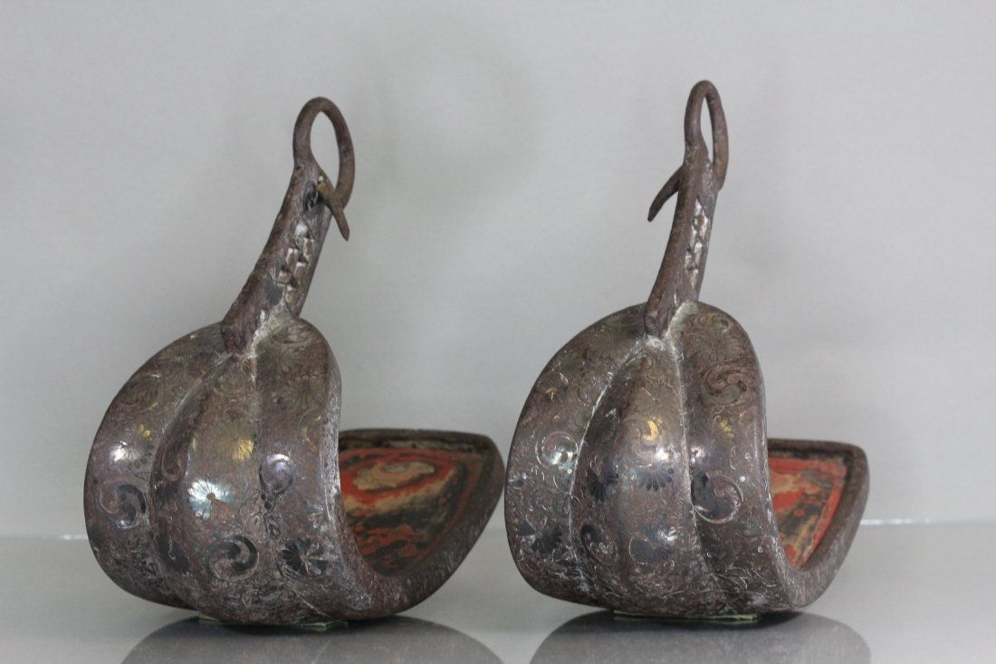Pair of japanese Bronze Horse Strip silver inlaid