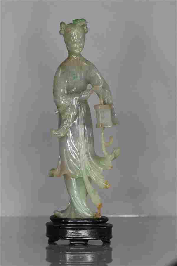 fine chinese qing icy lavender Jadeite Statue jade