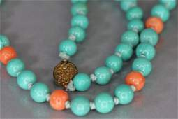 Turquoise and Coral beads pieces necklace and pin