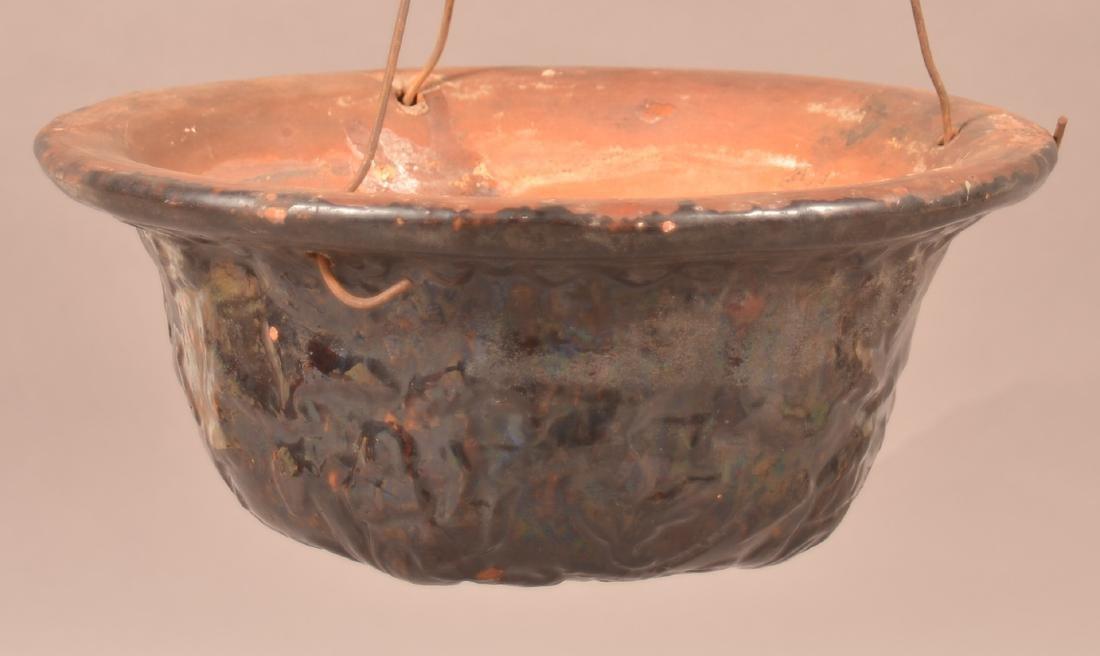 Stamped John Bell Redware Hanging Flower Pot.