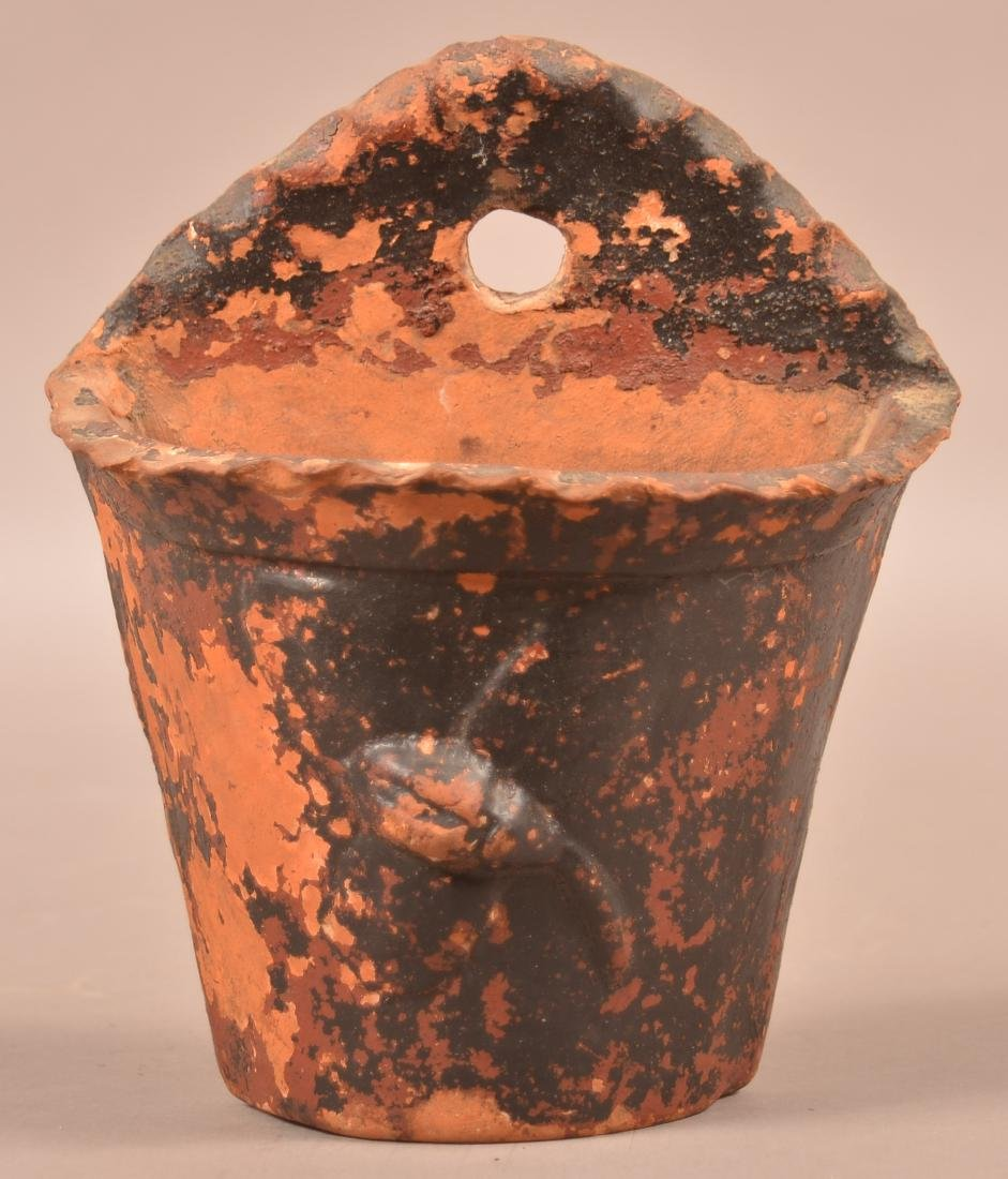 Antique Painted Redware Wall Pocket Planter.