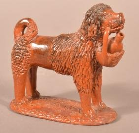 Pennsylvania 19th Century Redware Dog Figure.