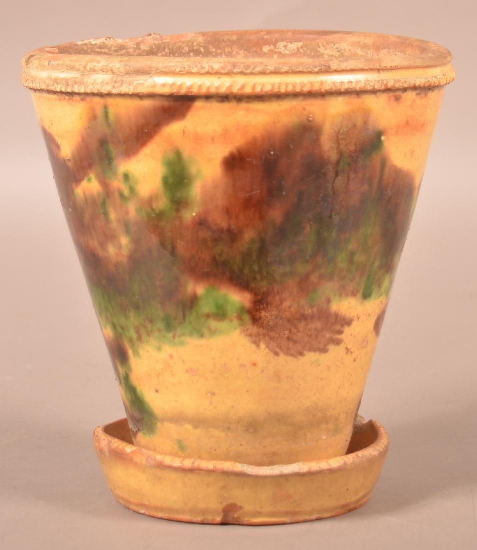 Shenandoah Valley Redware Flower Pot.