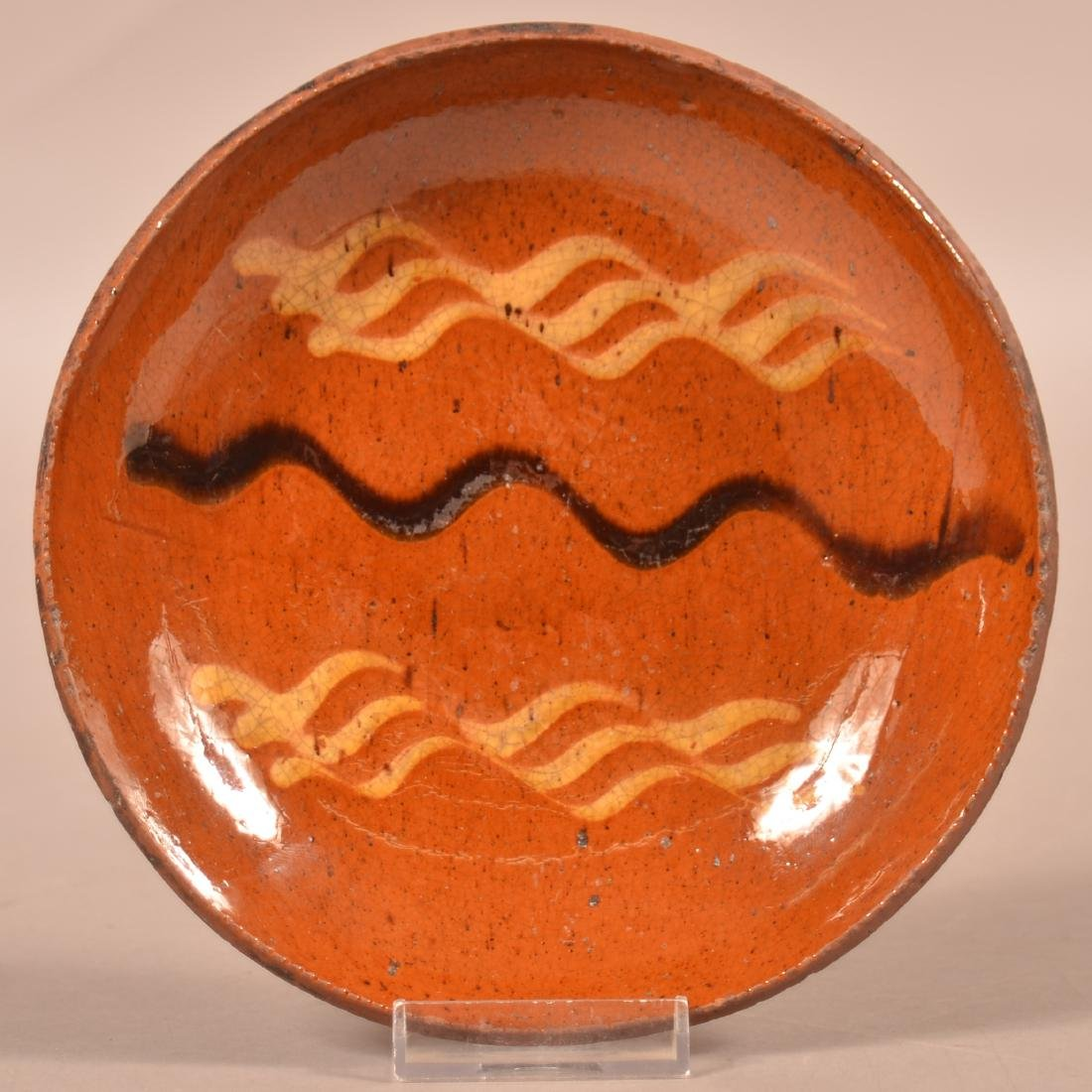 PA 19th Century Slip Decorated Redware Plate.