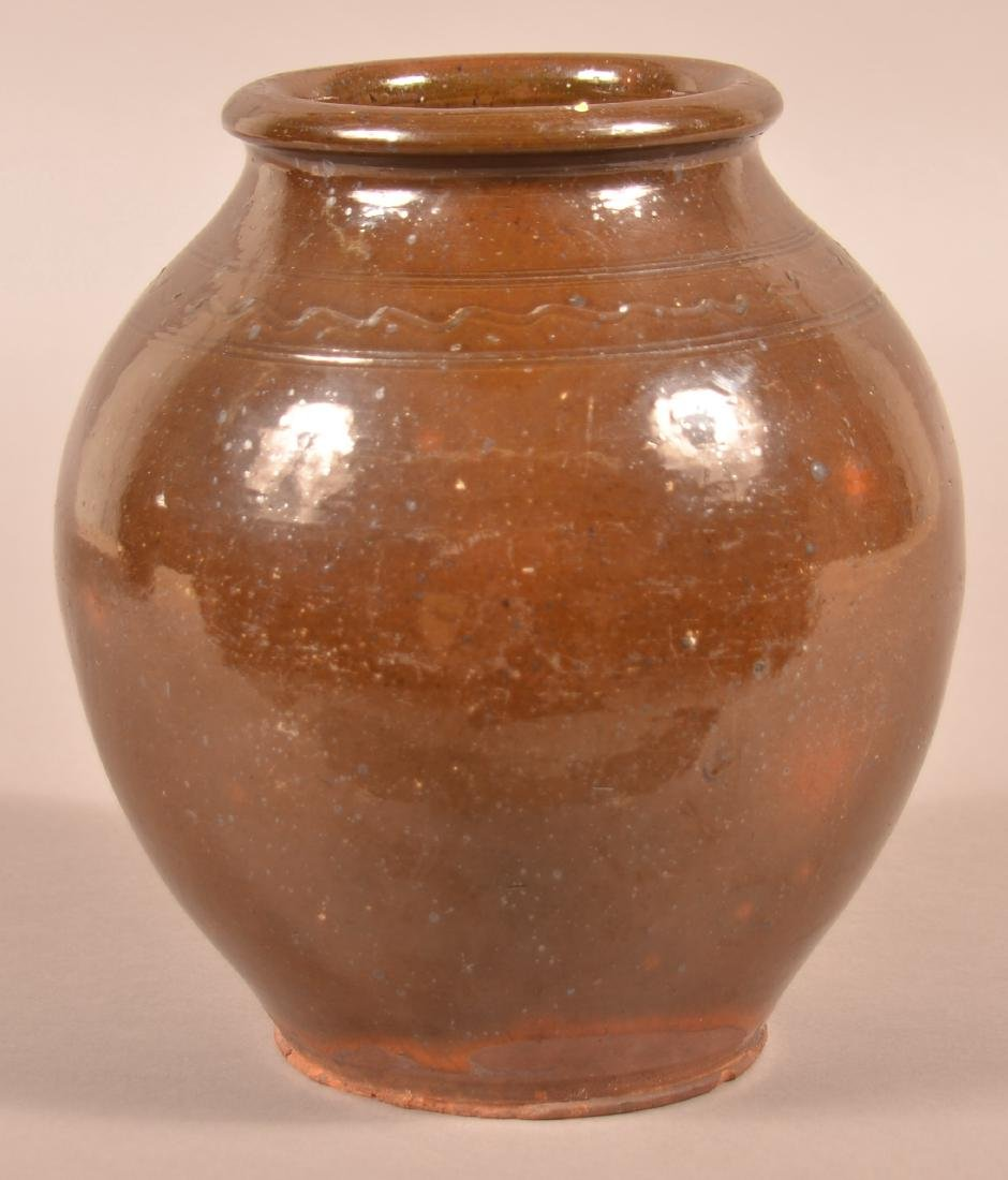 19th Century Glazed Redware Storage Jar.
