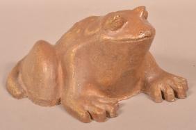 Ohio Sewer Tile Glazed Frog Garden Sculpture.