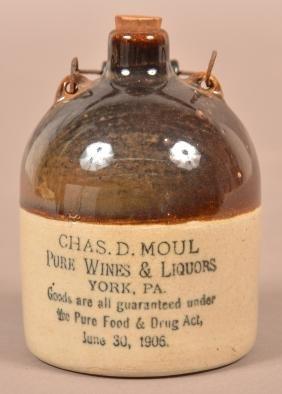 Chas. D. Moul Miniature Stoneware Advt. Jug.