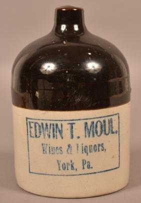 Edwin T. Moul Half Gallon Stoneware Advt. Jug.