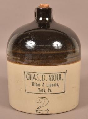 Chas. D. Moul Two Gallon Stoneware Jug.