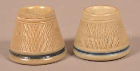 Two Antique Stoneware Match Holders.