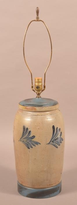 Stoneware 2 Gallon Crock fitted as a lamp.
