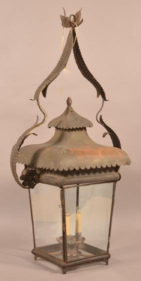 Antique Tin and Iron Lantern.
