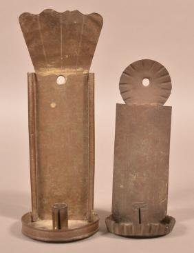 Two Antique Tin Candle Sconces.