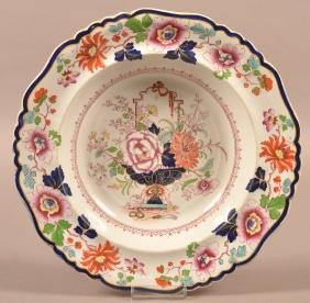 Ironstone China Floral Decorated Soup Plate.