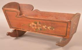 19th Century Paint Decorated Cherry Doll Cradle.