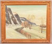 W.E. Baum Oil on Masonite Winter Landscape.