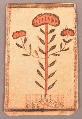 1829 Small Watercolor and Ink Fraktur Drawing.