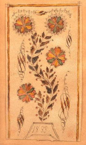 Small 1833 Watercolor and Ink Fraktur Drawing.