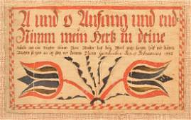 Watercolor  Ink Fraktur Bookplate Dated 1792