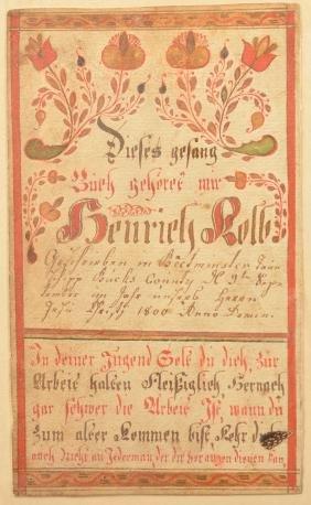 Watercolor & Ink Fraktur Bookplate Dated 1800.