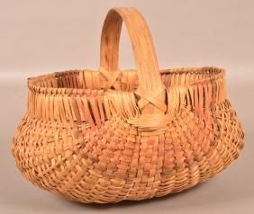 Antique Woven Oak Splint Market Basket.