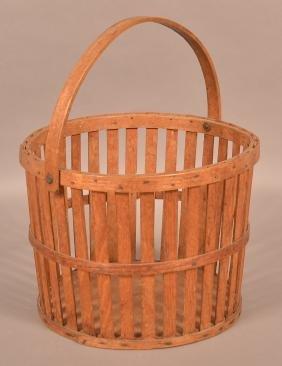 Oak bentwood Vertical Stave Apple Basket.