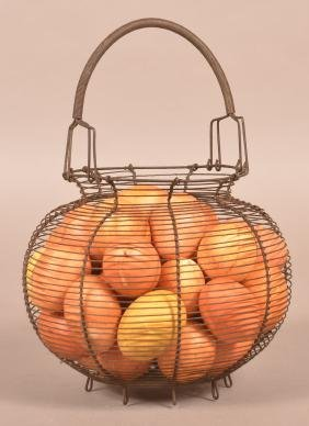 19th Century Wire Egg Basket.