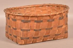 Antique Woven Ash Splint Storage Basket.