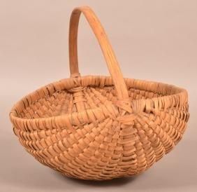 Antique Woven Oak Splint Field Basket.