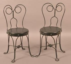 Pair of Vintage Child's Ice Cream Parlor Chairs.