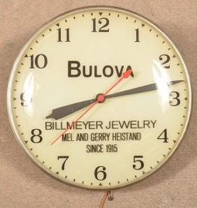 Vintage Bulova Advertising Electric Wall Clock.