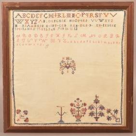 PA Needlework Sampler by Maria Hess, 1815.