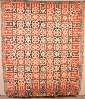 1840 PA Four Color Woven Jacquard Coverlet.
