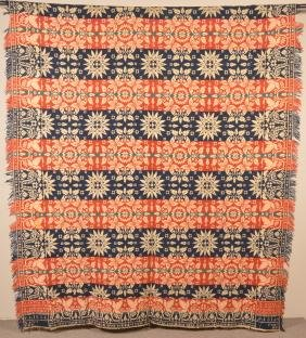 1844 York Co., PA Two Part Jacquard Coverlet.