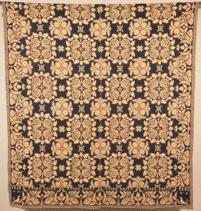 1837 N. York Blue and Neutral Jacquard Coverlet.