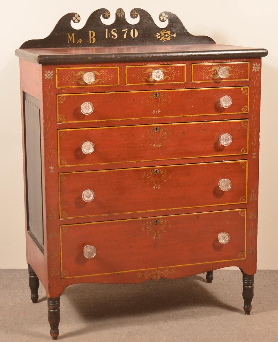 "Soap Hollow Chest of Drawers Signed ""M.B. 1870""."