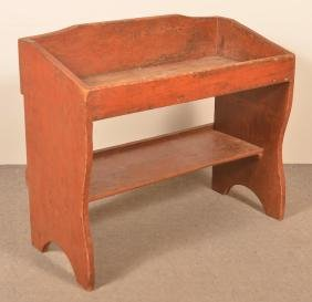 PA 19th C. Red Painted Softwood Bucket Bench.