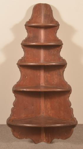 Early 19th Century Softwood Hanging Corner Shelf.