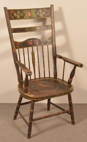 Lancaster Co., PA Half Spindle High-back Armchair.