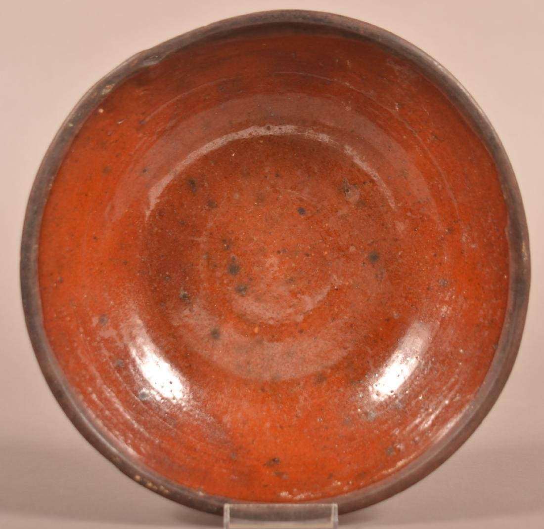 19th Century Glazed Redware Shallow Bowl.