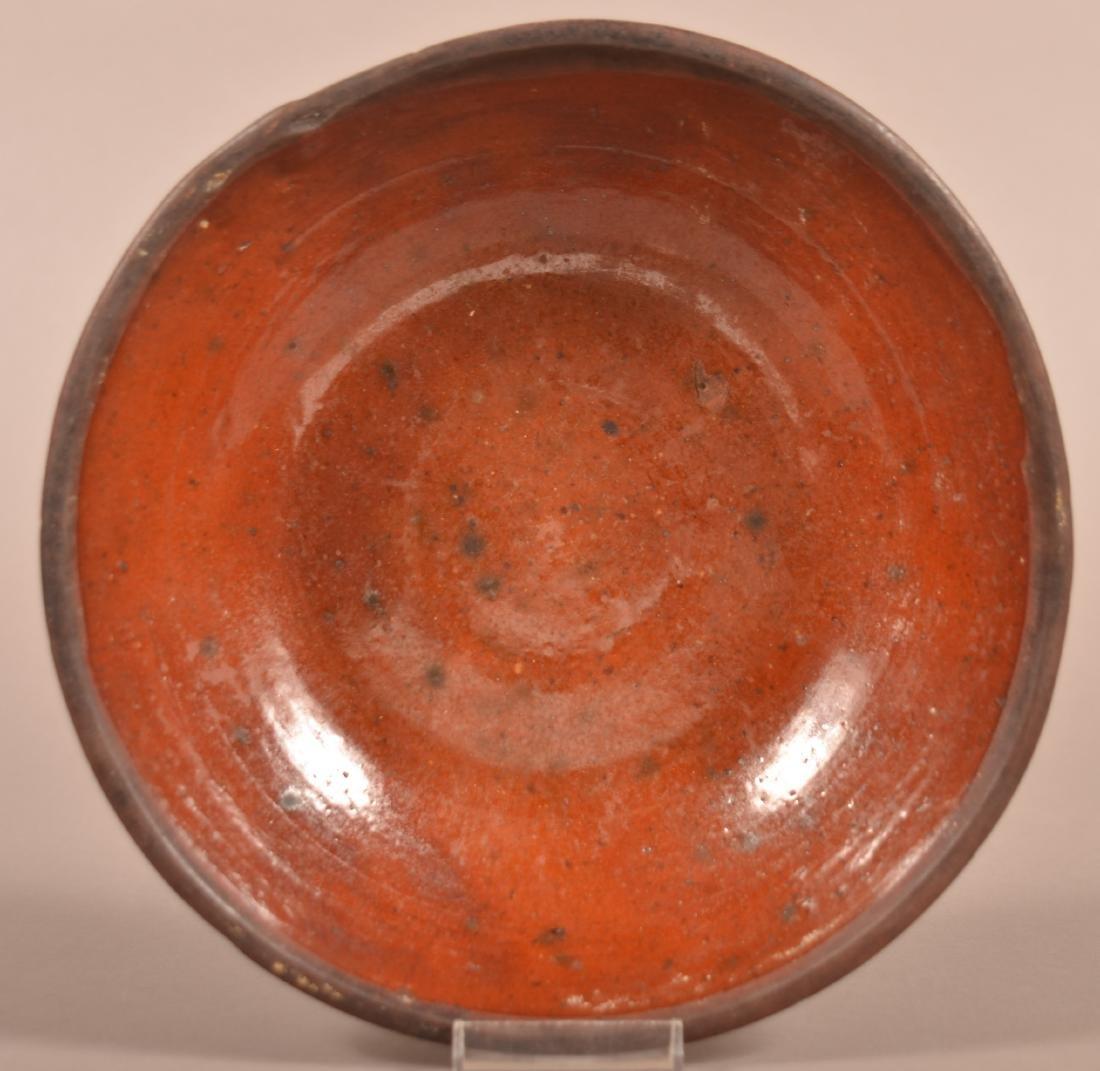 19th Century Glazed Redware Shallow Bowl.