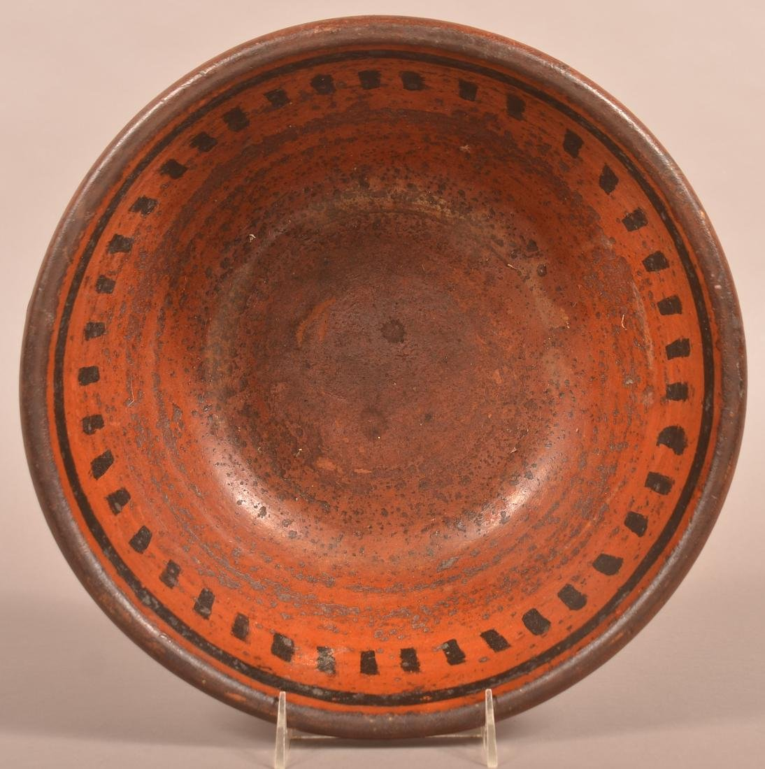 Glazed Redware Bowl with Applied Ear Handles. - 2