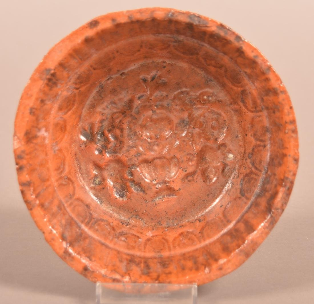 19th Century Mottle Glazed Redware Food Mold.