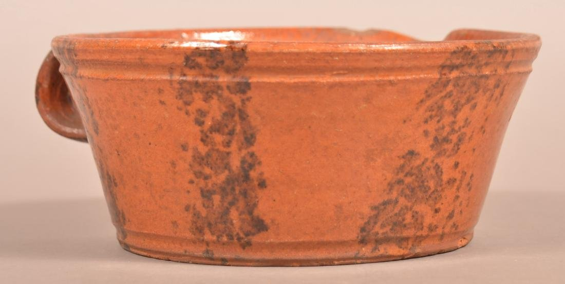 19th Century Sponge Glazed Redware Milk Bowl. - 2