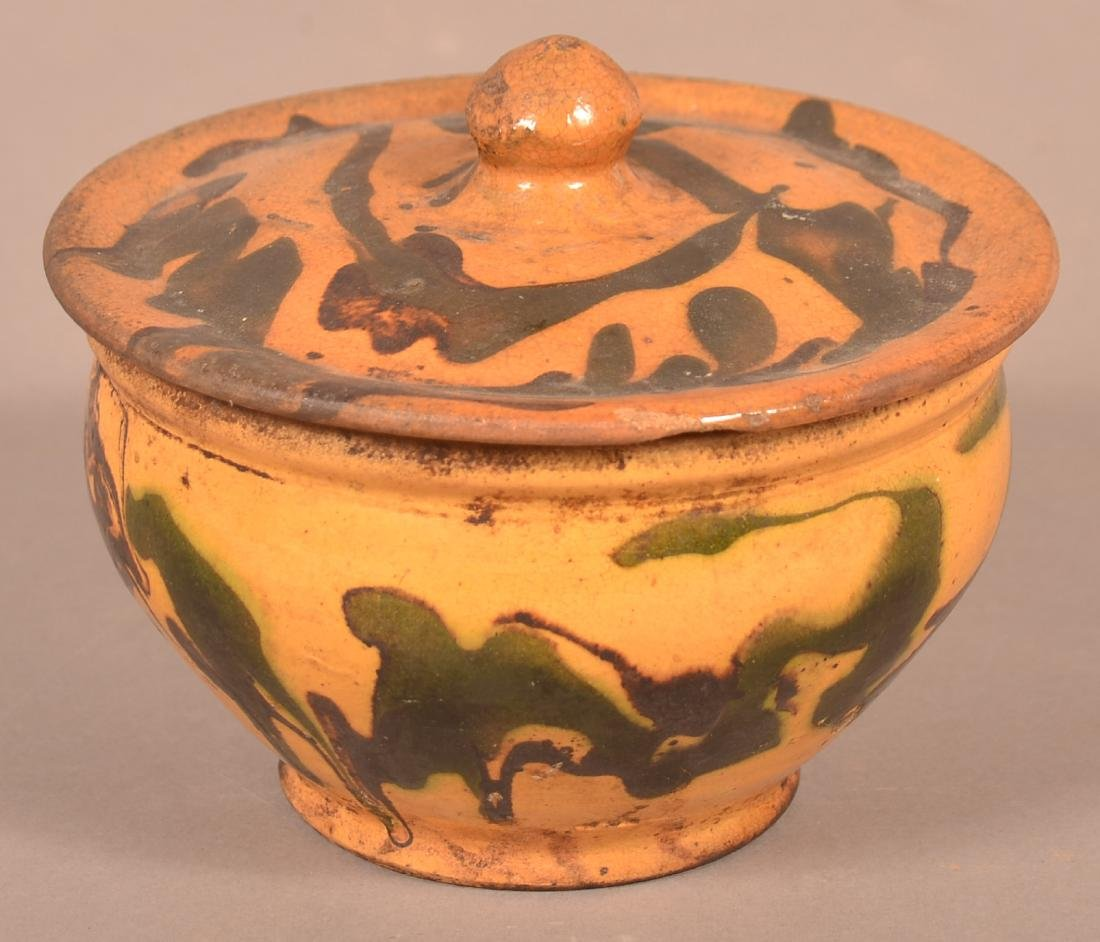 19th Century Drip Glazed Redware Covered Sugar Bowl. - 2